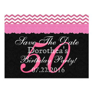 Save the Date 50th Birthday Party Chevron Pattern Post Cards