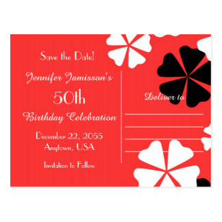 Save the Date 50th Birthday Party Red Postcard