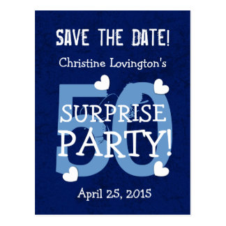 Save the Date 50th Surprise Birthday S50C BLUE Post Card