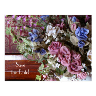 Save the Date 60th Anniversary Vintage Flowers Postcard