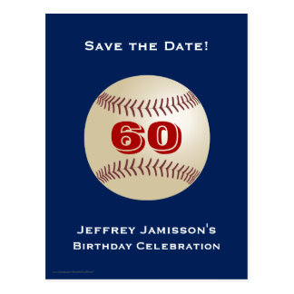 Save the Date 60th Birthday Baseball Postcard Post Cards