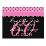 Save the Date 60th Birthday Pink and Black Lace Postcard