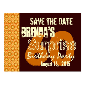 Save the Date 60th Surprise Birthday Gold Stars Postcard