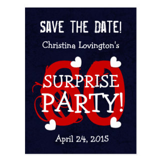 Save the Date 60th Surprise Birthday S60C BLUE RED Postcard