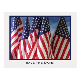 Save the Date 65th Birthday Party Postcard, Flags Postcard