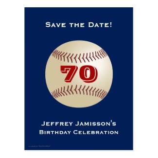 Save the Date 70th Birthday Baseball Postcard