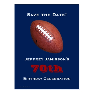 Save the Date 70th Birthday Football Postcard