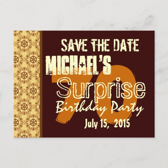 save the date 70th surprise birthday gold announcement postcard