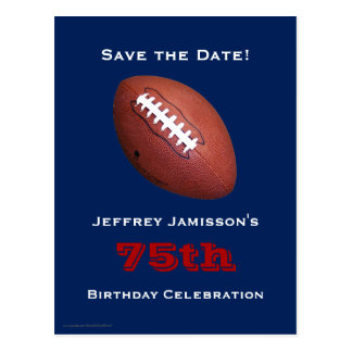 Save the Date 75th Birthday Football Postcard