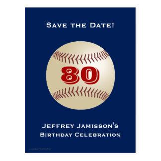 Save the Date 80th Birthday Baseball Postcard