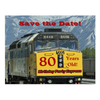 Save the Date 80th Birthday Celebration Postcard