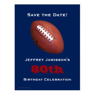 Save the Date 80th Birthday Football Postcard