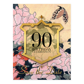 Save the Date 90th Birthday Butterfly & Peonies - Postcard