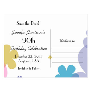 Save the Date 90th Birthday Celebration Postcard