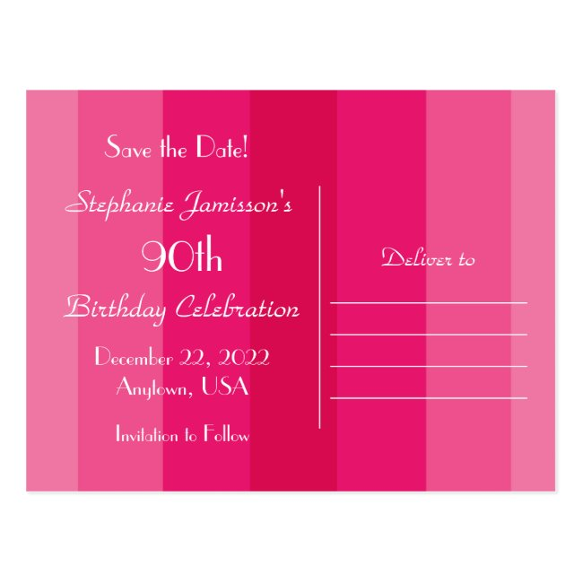 Save the Date 90th Birthday Party, Pink Stripes