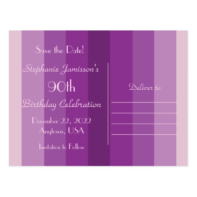 Save the Date 90th Birthday Party, Purple Stripes