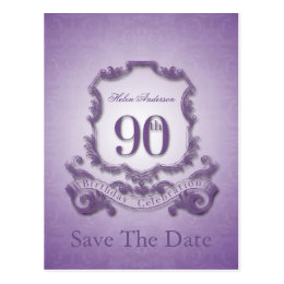 Save the Date 90th Birthday Personalized Postcard