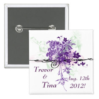 Save The Date Abstract Floral Bouquet Square Pin