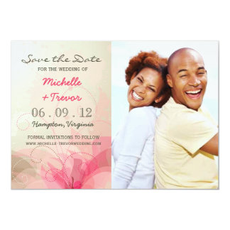 """Save the Date - Abstract Floral Photo Invites 5"""" X 7"""" Invitation Card"""