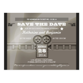 Save the date admission movie ticket postcards