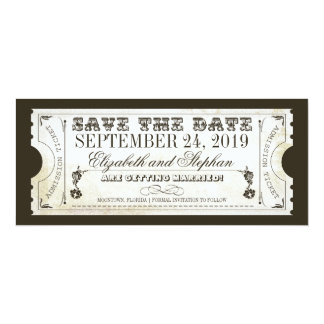 "save the date admission tickets 4"" x 9.25"" invitation card"
