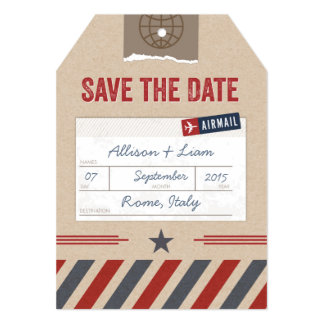 Save the Date Airmail Luggage Tag 5x7 Paper Invitation Card