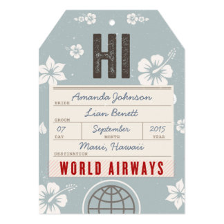 Save the Date Airmail Luggage Tag Hawaii in blue 5x7 Paper Invitation Card