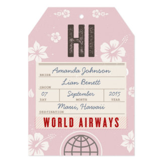 Save the Date Airmail Luggage Tag Hawaii in pink 5x7 Paper Invitation Card
