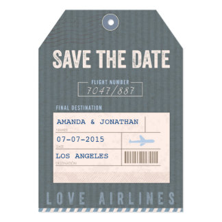 Save the Date Airmail Luggage Tag in bleu 5x7 Paper Invitation Card