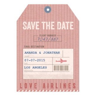 Save the Date Airmail Luggage Tag in pink 5x7 Paper Invitation Card