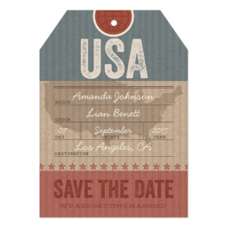 Save the Date Airmail Luggage Tag USA 5x7 Paper Invitation Card