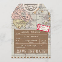 Save the Date Airmail Luggage Tag World Map