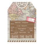 Save the Date Airmail Luggage Tag World Map 5x7 Paper Invitation Card