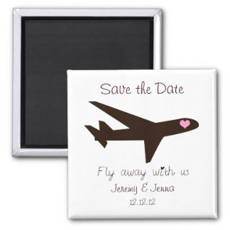 Save the Date: Airplane 2 Inch Square Magnet