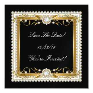 Save The Date All Occasions Diamond Trim Gold Magnetic Invitations