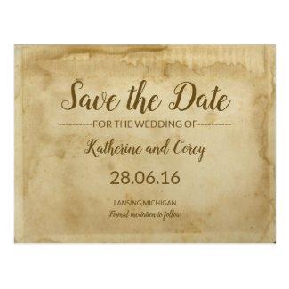 Save The Date Ancient Wedding Parchment Postcard