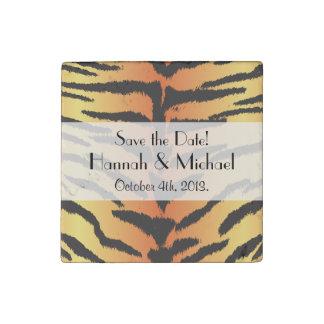 Save the Date - Animal Print, Tiger - Black Orange Stone Magnet