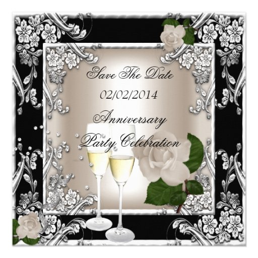 Save The Date Anniversary Wedding Cream Black Invites