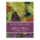 Save the Date Announcement Autumn Grape Leaf Postcards