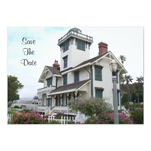 """Save The Date Announcement Point Fermin Lighthouse 5"""" X 7"""" Invitation Card"""