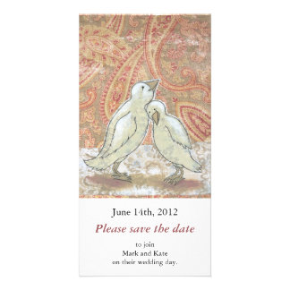 Save the date announcements perfect couple birds photo greeting card