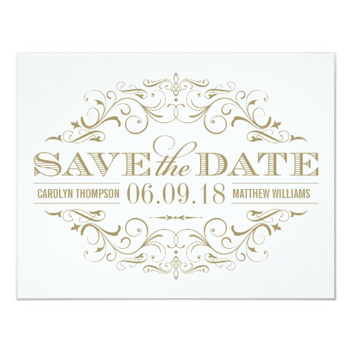 Save the Date Antique Gold and White Flourish 4.25x5.5 Paper Invitation Card