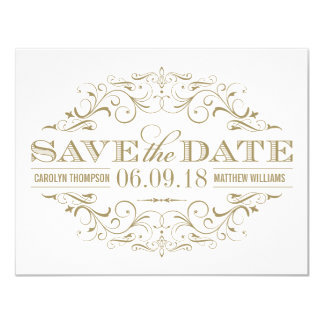Save the Date | Antique Gold and White Flourish Custom Invitation