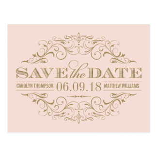 Save the Date | Antique Gold Flourish Post Cards