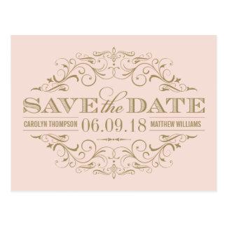 Save the Date | Antique Gold Flourish Postcard