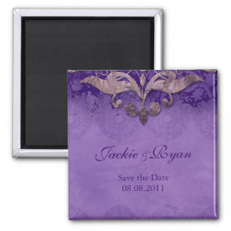 Save the Date Antique Verdigris Purple Brown 2 Inch Square Magnet