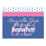 Save the Date Any Year Surprise Birthday Blue S10 Postcard