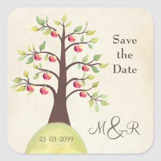 Save the Date Apple Tree Monogram Square Sticker