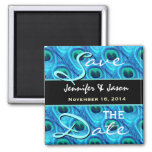 Save the Date Aqua and Cobalt Peacock Feathers Refrigerator Magnets