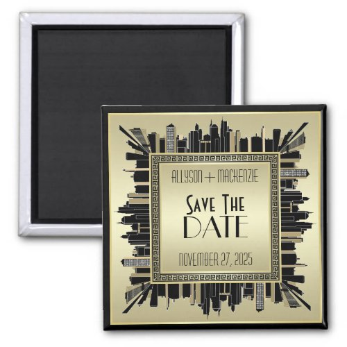 Save the Date Art Deco Champagne Gold Gatsby Glam Magnet